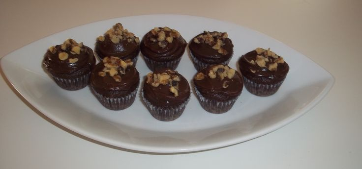 Mini devils food cake topped with chocolate ganache and walnuts https ...