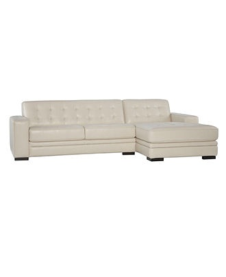 "Kayla Leather Sectional Sofa, 115""W x 62""D x 36""H -  