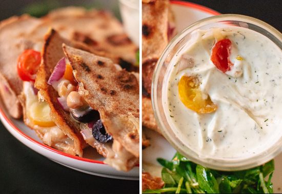 Greek quesadillas and dill yogurt dip - Didn't try the dip but this ...