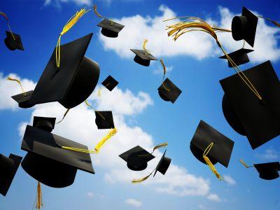 graduation hats thrown in the air | EBLAST PEGS | Pinterest