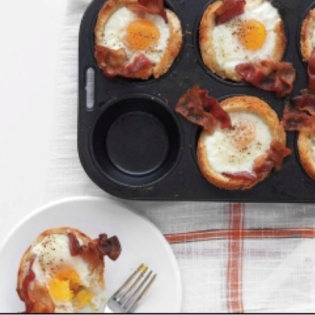 Bacon, egg and cheese toast cups! Looks bomb!