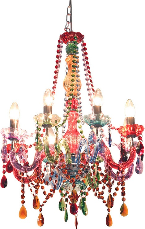 A magnificent theatrical multi coloured chandelier.