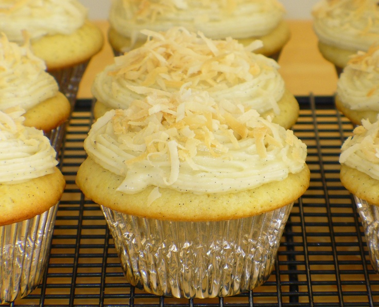 Vanilla Bean-Coconut Cupcakes with Coconut Frosting | Recipe