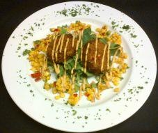 ... Lobster Cakes With Baby Greens, Chipotle Aioli and Roasted Corn Salsa