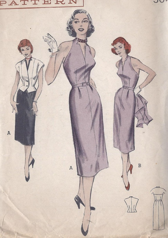 Vintage 1950's Misses Halter Dress And by CottageLaneTreasures, $17.00