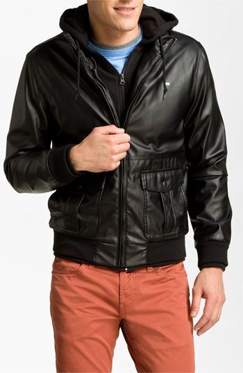 Obey 'Rapture' Hooded Faux Leather Bomber Jacket available at