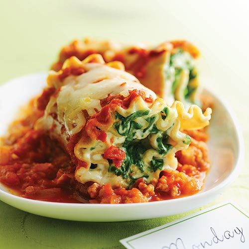 Pasta Roll-ups with Turkey and Spinach (Click Pic for Recipe) I ...