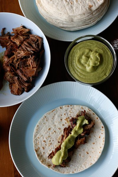 Smoky Sweet Beef Tacos with Avocado Tomatillo Sauce