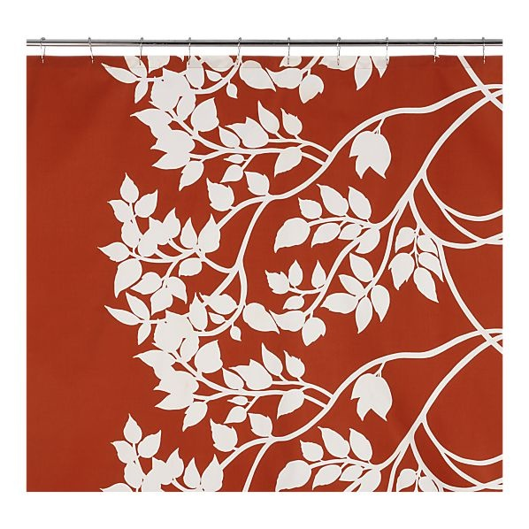 Marimekko Madison Persimmon Shower Curtain from Crate & Barrel Outlet.