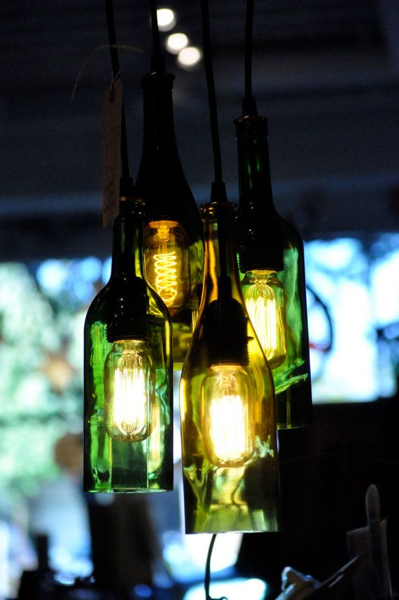 4 Light Chandelier Recycled Wine Bottle Pendant