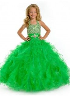 Halter Court Train Tulle Green Ball Gown Girls Pageant Dress