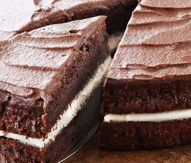 Luscious Chocolate Butter Cake with Cream Filing &Chocolate Frosting ...
