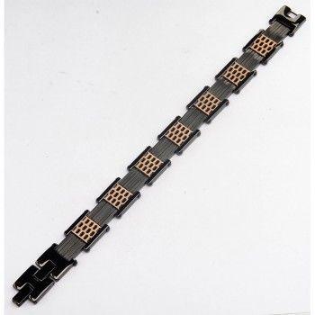 Men's Stainless Steel IP Black and Rose Gold Car Grille Polished Bracelet