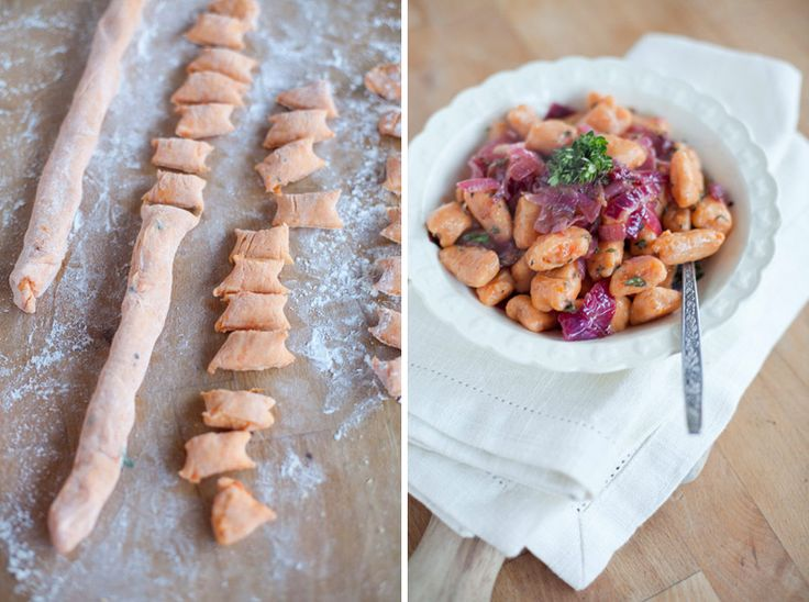 Sweet potato gnocchi with lemon thyme onion sauce. Will probably try ...