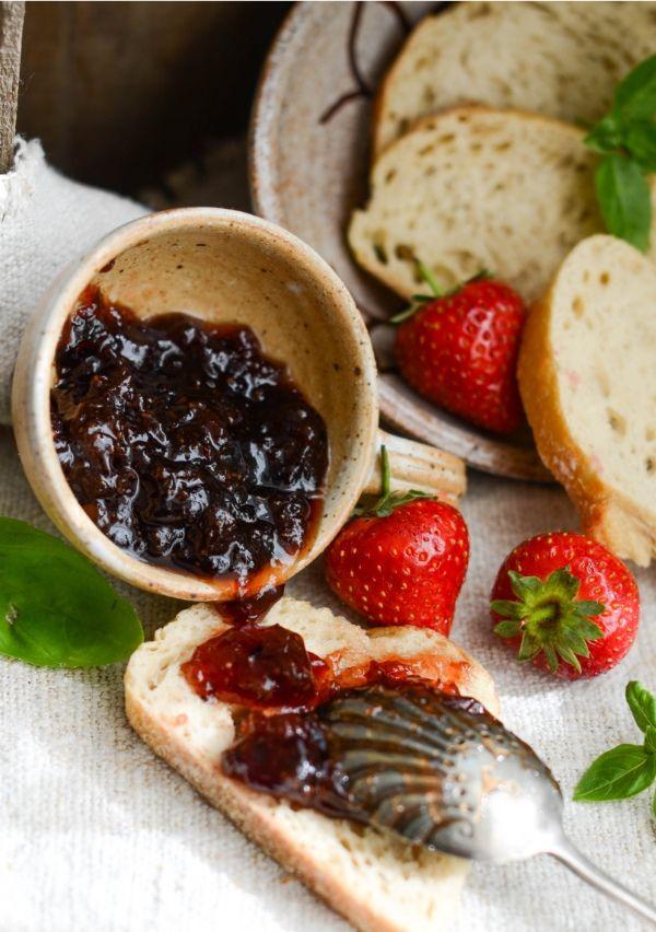 Italian inspired Strawberry Jam with basil and balsamic vinegar. www ...