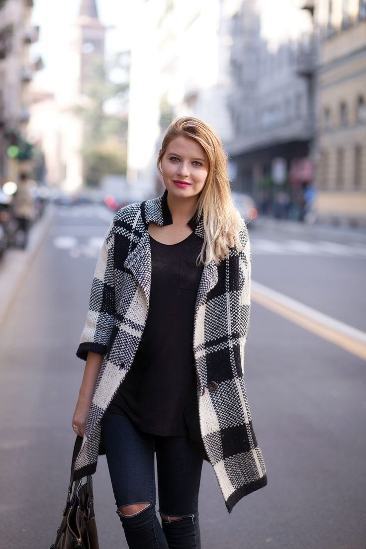 Plaid coat and black top