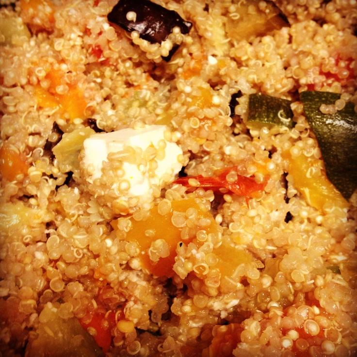 Roasted vegetable and feta quinoa | delicious | Pinterest