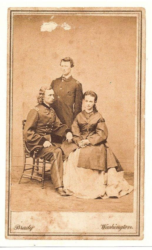 CDV of Gen. George Custer & Wife, Libbie along with brother, Tom Custer.  (Photo by Mathew Brady Studio).