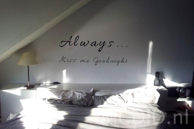 DIY muurtekst slaapkamer muurschildering  Teksten  Pinterest