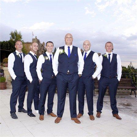navy groomsmen vest and pants no jacket wedding party