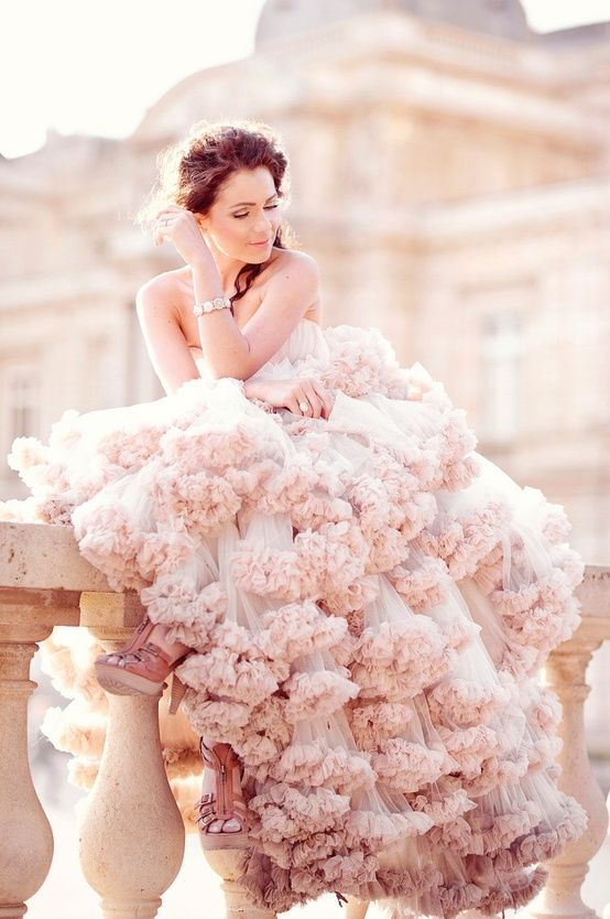 #Pink ruffles #weddingdress