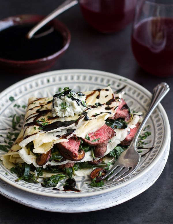 Steak, Spinach and Mushroom Crepes with Balsamic Glaze. - Half Baked ...