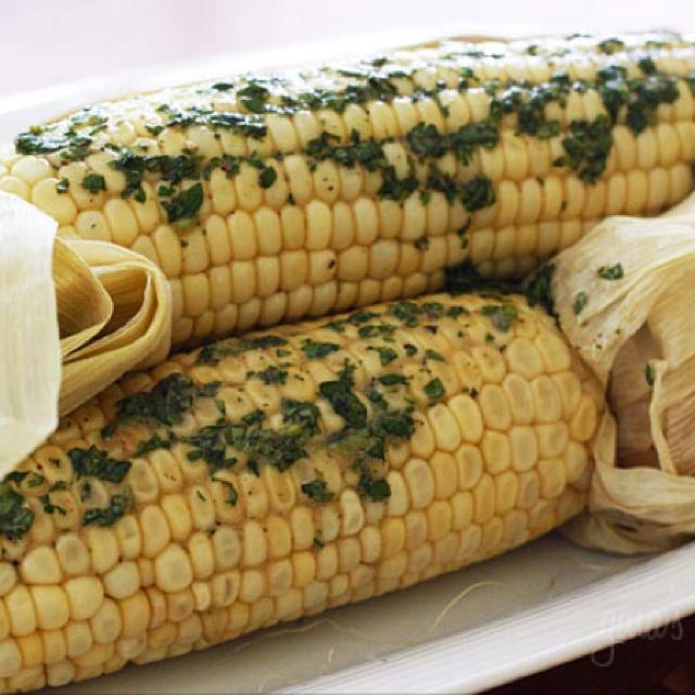Roasted Corn with Cilantro Butter | Recipe