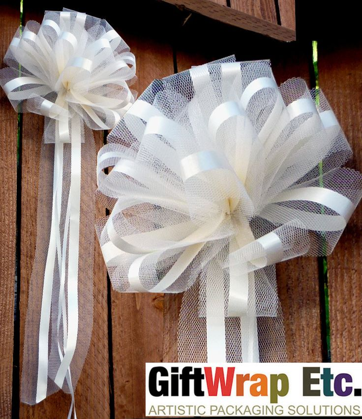 10 Ivory Tulle Pull Bows Wedding Church Pew Decorations