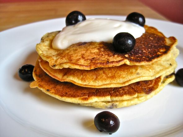 blueberry,cornmal blueberry pancakes made healthier
