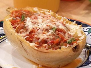 Spaghetti Squash with Butter and Cheese and Spicy Marinara with Saffron