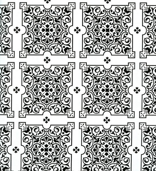 Julien black white tiles contact paper 9 ft for Black and white bathroom paper