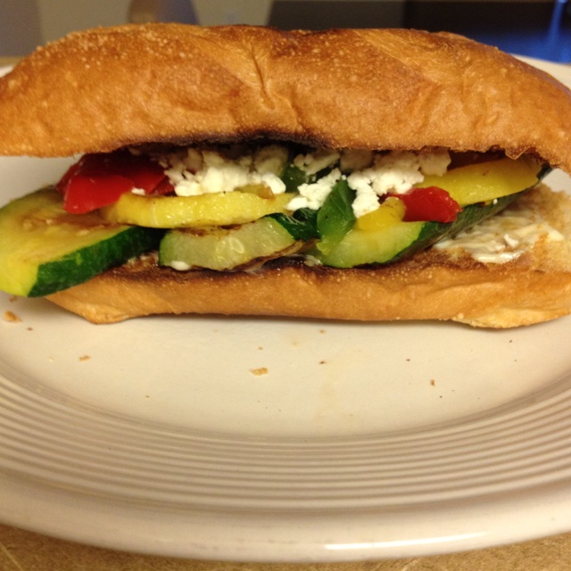Zucchini, yellow squash, bell peppers, aioli sauce and feta cheese ...