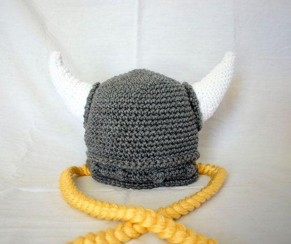 Crochet Viking Hat Pattern : Viking hat PDF crochet pattern child teen adult gray white yellow bea ...