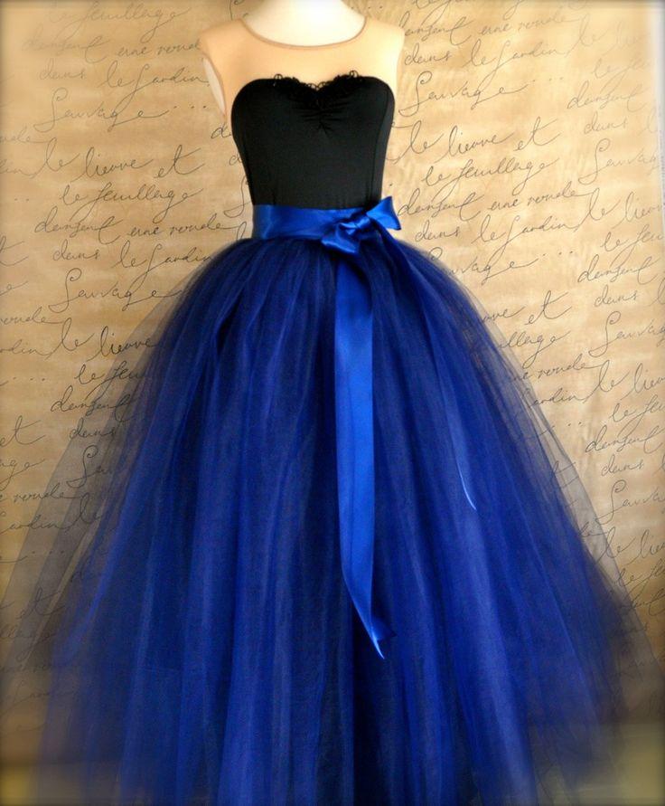 Full length navy tulle skirt navy tulle lined with black for How to make a long tulle skirt for wedding dress