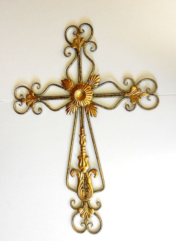 Gold Cross Wall Decor : Home interior tall unique large metal wall gold cross