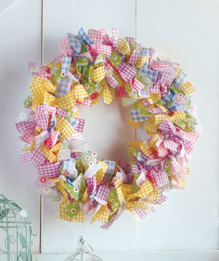 Gingham Rag Wreath & Garland | LTD Commodities $6 I can MAKE THIS in ...