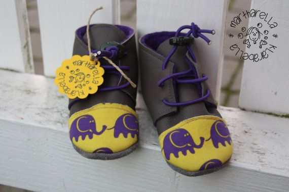 Gray yellow purple Leather baby toddler Oxford shoes; elastic ties