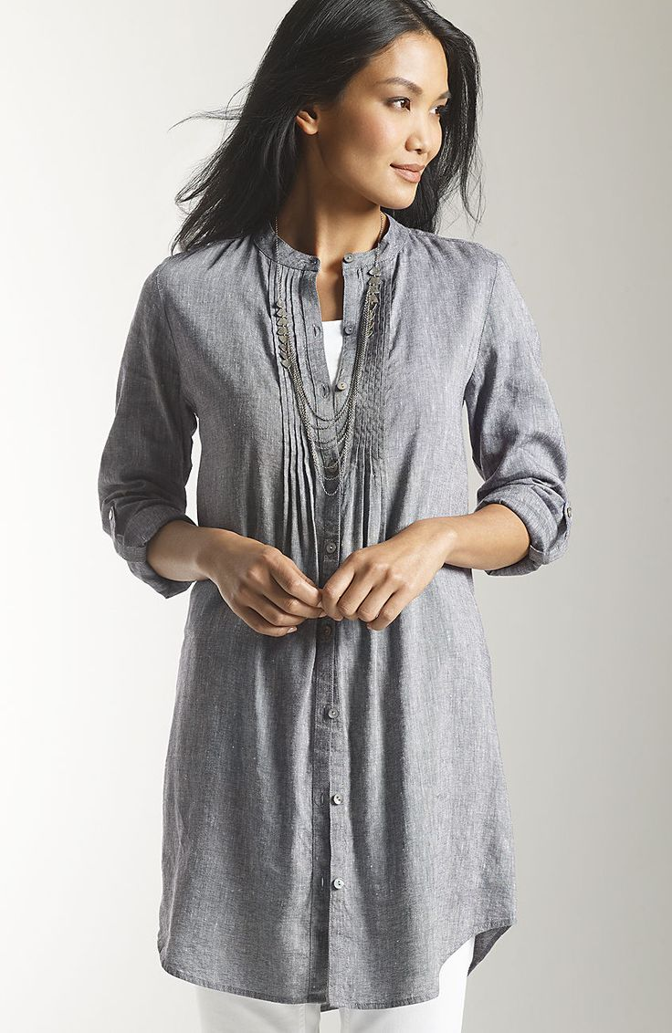 chambray in a tunic over leggings
