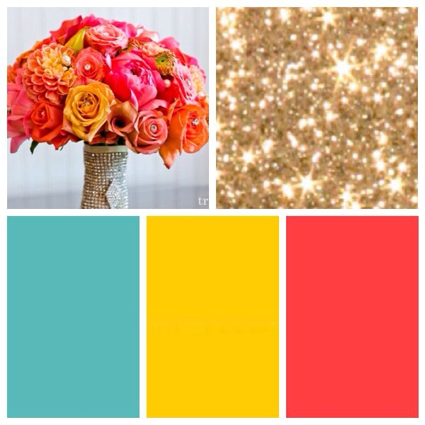 Aqua yellow gold pink coral wedding bright spring colors