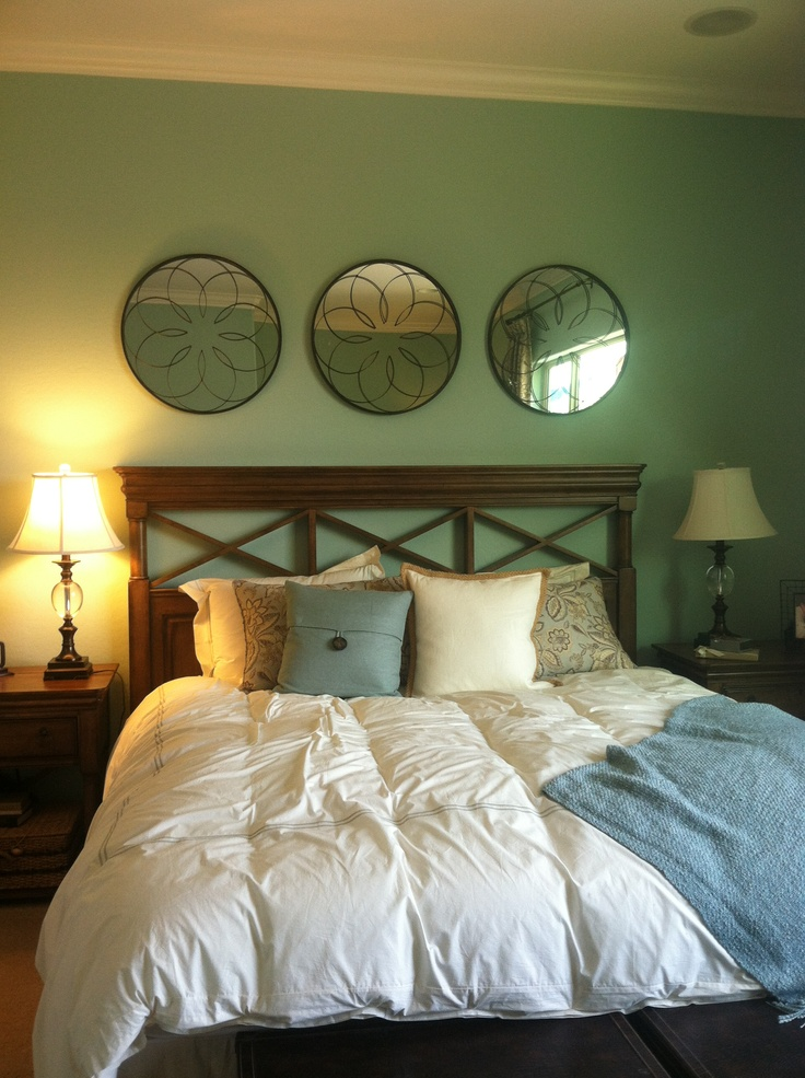 bedroom wall color 3 round mirrors rooms i like pinterest