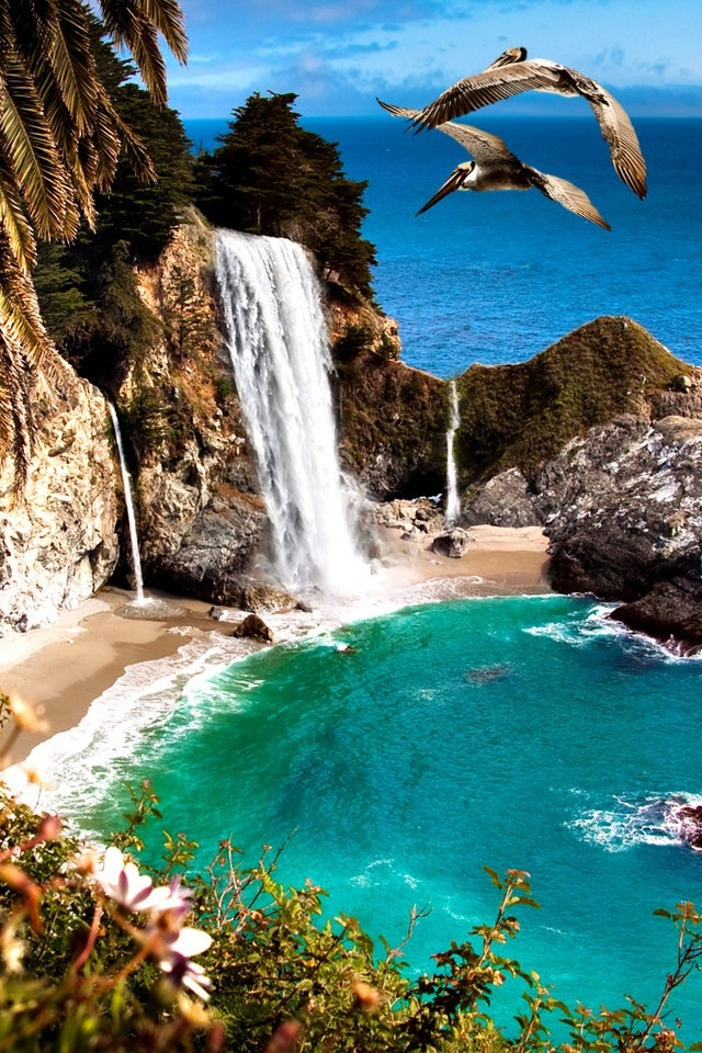 Beach Waterfall California