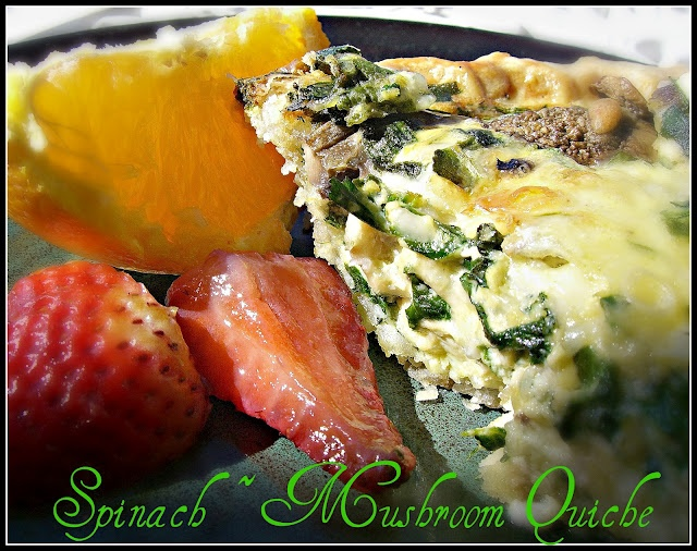 Spinach Mushroom Quiche - great for breakfast or supper :)
