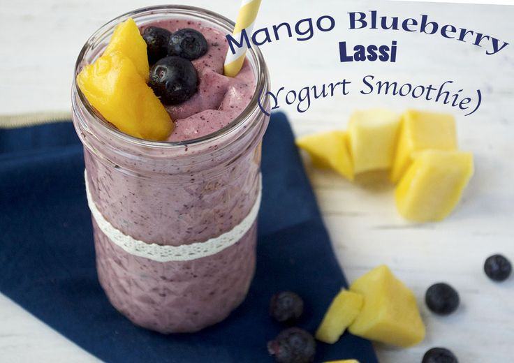 Mango Blueberry Lassi (Greek Yogurt Smoothie)