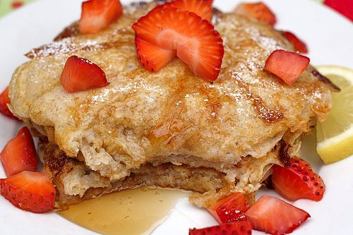 Lemon Cottage Cheese Pancakes with Strawberries Can't wait to trick ...