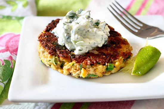 Chickpea Patties with Cucumber-Yogurt Sauce My hubby would like these ...