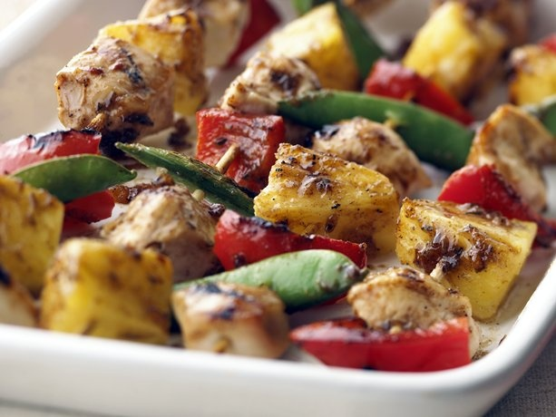 ... like this: red bell peppers , chicken kabobs and apricot chicken
