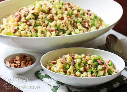 Pasta salad with peas, dill and smoked almond. (And/or bacon?). Love ...