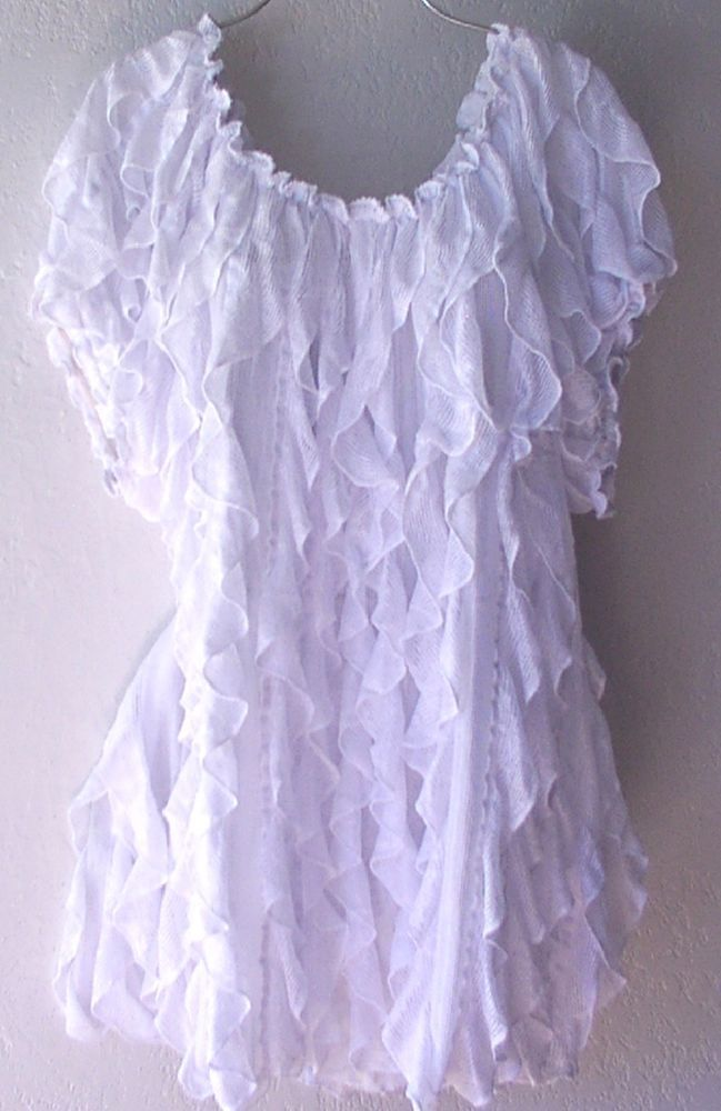 NEW~White Vertical Layered Ruffle Peasant Blouse Boho Plus Shirt Top~22/24/1X/2X