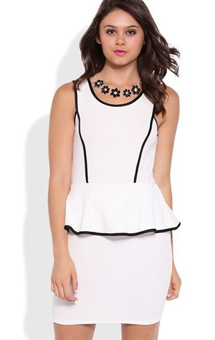 Deb Shops Peplum Dress with Contrast Piped Trim $26.25