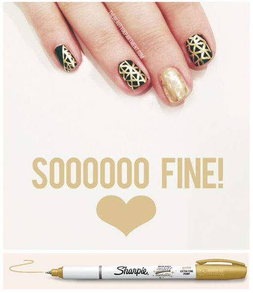 Waterbased metallic sharpie nail art.  Nails  Pinterest